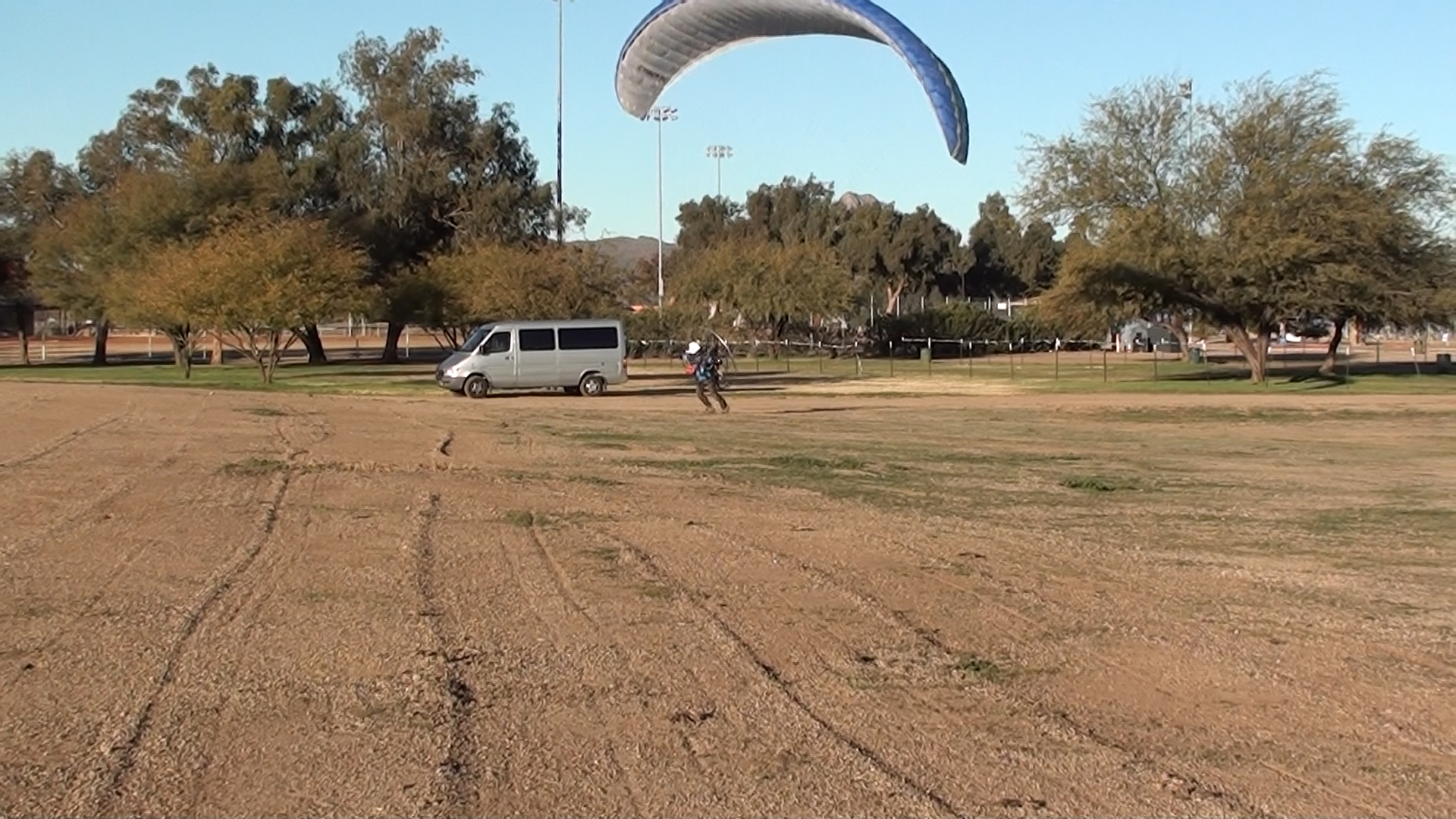 Light wind take off from the park.